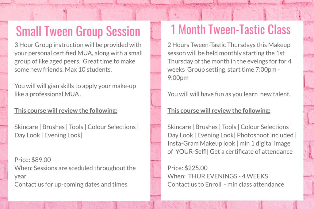 group makeup classes lessons in winnipeg canada for teenage girls teens tweens near you